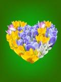 与花和心脏的背景。 库存照片