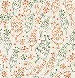 与花和心脏的装饰无缝的样式 不尽的华丽背景 免版税图库摄影