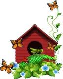与花和昆虫的鸟舍 皇族释放例证
