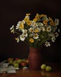 与花和果子的静物画。 免版税库存图片