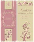 与花和框架的葡萄酒例证 库存照片