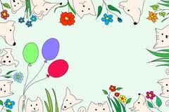 与花和气球的动物 传染媒介图画,手工制造 向量例证