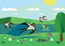 与花和燕子的晴天 免版税库存照片