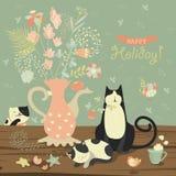 与花和猫花束的静物画  库存图片