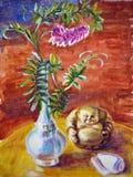 与花和神象的静物画 免版税图库摄影
