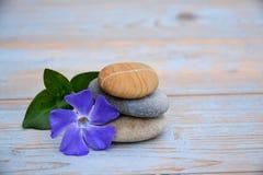 与花和禅宗石头的布朗菩萨雕象 免版税库存照片