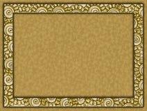 与花和纸背景的金黄框架 免版税图库摄影