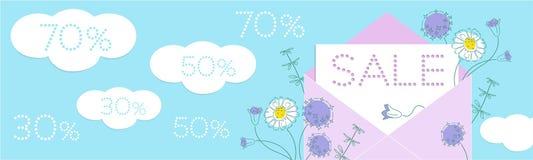 与花和纸被切开的云彩的销售花卉横幅和在蓝色背景的折扣数字 皇族释放例证
