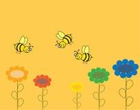 与花和蜂的背景 免版税库存照片