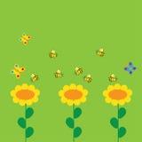与花和蜂的背景 免版税图库摄影