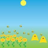与花和蜂的背景 免版税库存图片