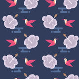 与花和蜂鸟的无缝的样式 免版税图库摄影
