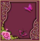与花和蝴蝶的抽象背景 库存照片