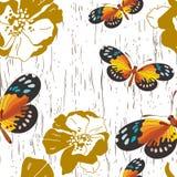 与花和蝴蝶的无缝的模式 免版税库存图片