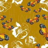 与花和蝴蝶的无缝的模式 皇族释放例证
