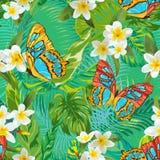 与花和蝴蝶的热带无缝的样式 棕榈叶 向量例证