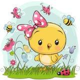 与花和蝴蝶的逗人喜爱的鸡 库存例证
