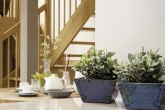 与花和被盖的早餐桌的内部细节生活方式 免版税图库摄影