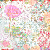 与花和装饰品的剪贴薄背景 库存图片
