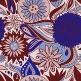 与花和装饰品的蓝色褐色样式 免版税库存照片