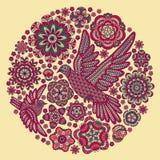 与花和鸟的圆的背景 免版税库存照片
