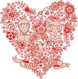 与花和鸟的婚礼心脏 免版税图库摄影