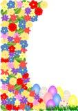 与花和鸡蛋的复活节卡片 免版税库存照片
