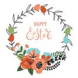 与花和鸡蛋的复活节背景 库存例证
