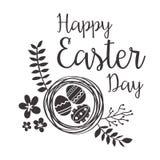 与花和鸡蛋的愉快的复活节贺卡 免版税库存图片