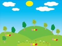 与花和鸡蛋的背景 免版税图库摄影