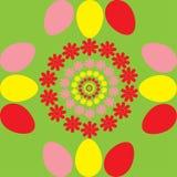 与花和鸡蛋的背景 库存图片