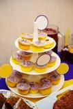 与花和黄油奶油色紫色,黄色的许多甜生日杯形蛋糕样式 免版税库存照片