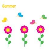 与花和蝴蝶的五颜六色的背景 免版税库存图片