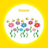 与花和蝴蝶的五颜六色的背景 免版税库存照片