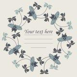 与花和蝴蝶的时髦的圈子框架 库存图片