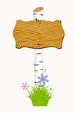 与花和蝴蝶的木牌 免版税库存图片