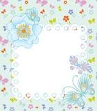 与花和蝴蝶的框架 免版税库存照片