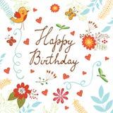 与花和蝴蝶的生日快乐卡片 库存例证
