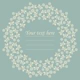 与花和蝴蝶的装饰圈子框架 免版税图库摄影