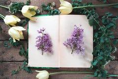 与花和mocap叶子的一本开放书 库存图片