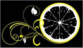 与花商标的柠檬切片温泉沙龙的 库存图片