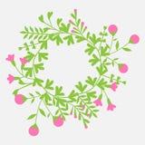 与花圈叶子和花的五颜六色的逗人喜爱的花卉集合 库存照片