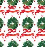 与花圈和弓的水彩圣诞节假日无缝的样式 冬天新年题材 库存例证