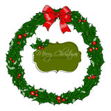 与花圈的圣诞卡。 免版税图库摄影