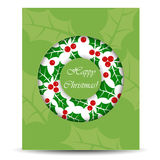 与花圈的抽象圣诞卡 库存图片