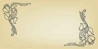 与花婚礼诗歌选的邀请卡片在艺术nouveau样式 库存照片