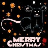 与花愿望圣诞快乐的鼠 免版税库存图片