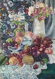 与花束和水多的果子的静物画绘画 向量例证