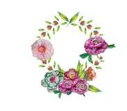 与花束的贺卡在婚姻,生日和其他假日开花 花卉角度 免版税库存图片