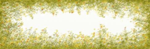与花框架的简单的横幅 免版税图库摄影
